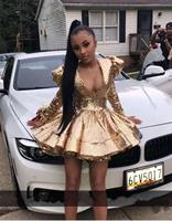 Sexy V Neck Long Sleeve Gold Full Sequined Shoulder Pad Short Prom Dresses 2020 Party Cocktail Dresses Homecoming Dress
