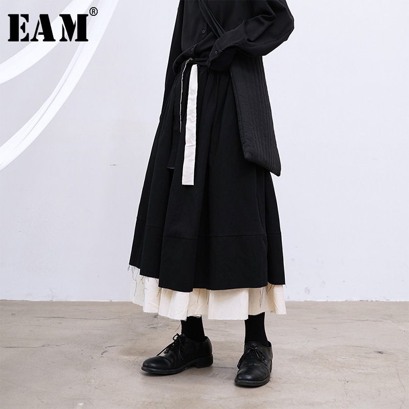 [EAM] High Elastic Waist Black Double Layers Split Temperament Half-body Skirt Women Fashion Tide New Spring Autumn 2020 1M744