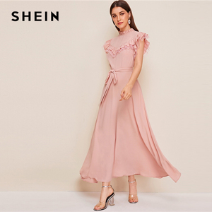 Image 4 - SHEIN Layered Ruffle Detail Belted Fit And Flare Dress 2019 Stand Collar Sleeveless Black Solid Women Spring Autumn Dresses