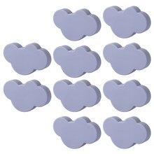 10 pçs nuvem porta armário knob pvc haplopore gaveta puxar puxadores e alças para móveis-pequenas nuvens brancas