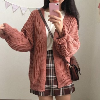 Women Autumn&Winter Casual Sweater Cardigan Solid Color Vintage Lantern Sleeve Round Neck Loose Cardigan Warm Knitted Sweater Co цена 2017