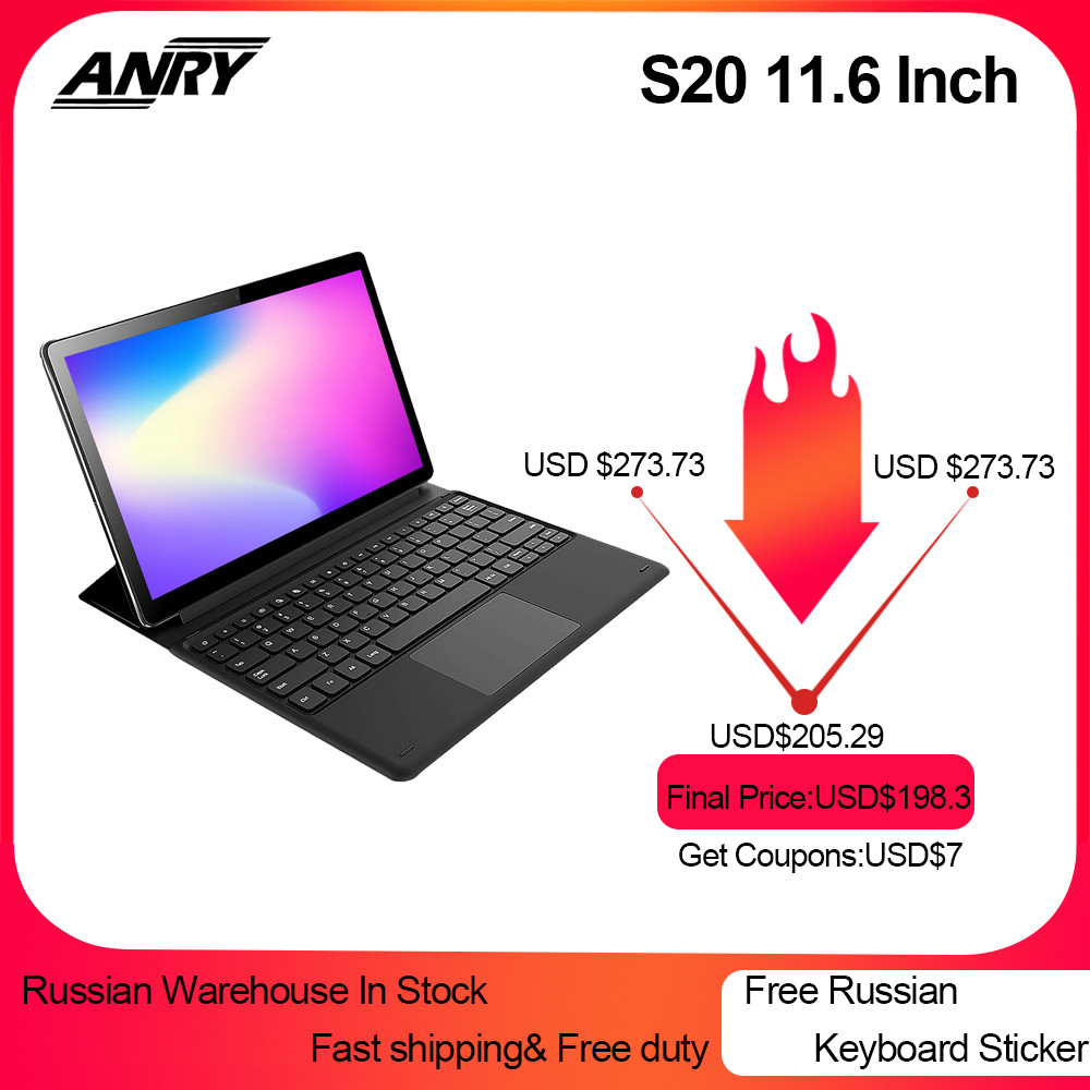 ANRY S20 11.6 inç Tablet RU ES satış 4GB RAM 128GB ROM Android 8.1 Tablet Pc Deca çekirdek 4G LTE GPS Google oyun 2 In 1 Phablet