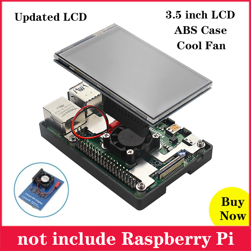 Raspberry Pi 3.5 Inch Touchscreen 480*320 Resolution Display TFT LCD With Cooling Fan ABS Case For Raspberry Pi 4 3 Model B 3 B+