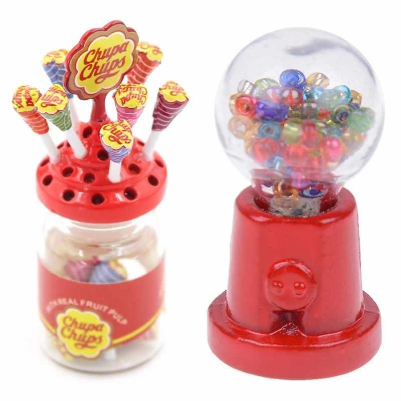 Miniatur Makanan Penutup Makanan Gula Mini Lolipop dengan Case Pemegang Permen Mesin untuk Rumah Boneka 1/12 Perabot Dapur Mainan
