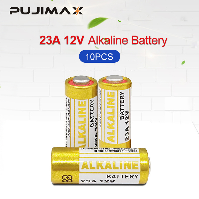 PUJIMAX 23A <font><b>Batteries</b></font> 10PCS/Lot <font><b>12V</b></font> Alarm-Remote Primary Dry Alkaline <font><b>Battery</b></font> 21/23 23GA <font><b>A23</b></font> A-23 GP23A RV08 LRV08 E23A V23GA image
