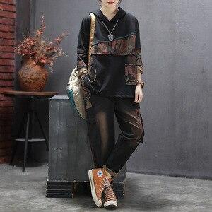 Image 5 - Max LuLu 2019, корейская мода, новая осенняя одежда с надписью «женские туфли в винтажном стиле; Комплекты из двух предметов для женщин с капюшоном топы и штаны шаровары, штаны размера плюс