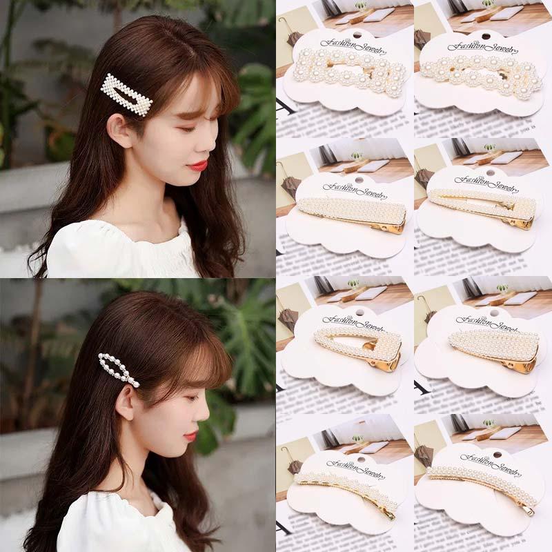 Korean simulation pearl hairpin set fashion beaded geometry hair clip barrettes women hairgrip girls wedding Hair accessories in Women 39 s Hair Accessories from Apparel Accessories