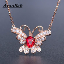Ataullah Red Ruby Gemstone Necklace Butterfly Pendant Necklaces Silver 925 Jewelry Plated 18K Gold Chain Women NW098