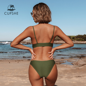 Image 2 - CUPSHE צבא ירוק מוצק ביקיני סט נשים משולש סקסי שתי חתיכות בגדי ים 2020 רגיל ילדה חוף בגד ים בגדי ים
