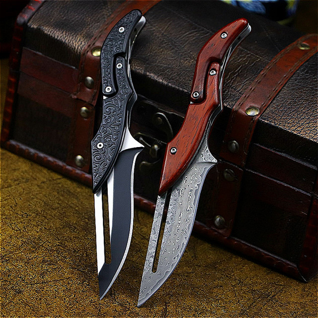 DEHONG  Damascus Mechanical folding Knife Fashion D2 steel folding knife outdoor folding knife pocket knife jungle hunting knife 1