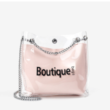 Women Crossbody Transparent Messenger Bag Chain PVC Jelly Skin Shoulder Bags Lady Purse Phone PU Handbag
