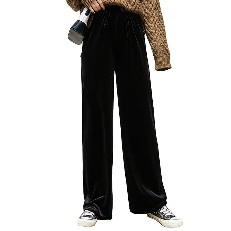 New Autumn Winter Trousers Casual Elastic High Waist Velvet Pants Women Fashion Pleuche Wide Leg Pants Black Red Loose Long Pant