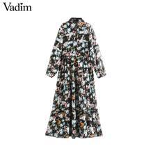 Vadim Vrouwen Mode Bloemen Patroon Midi Jurk Lange Mouwen Rechte Vrouwelijke Casual See Through Mid Calf Jurken Vestidos QD204