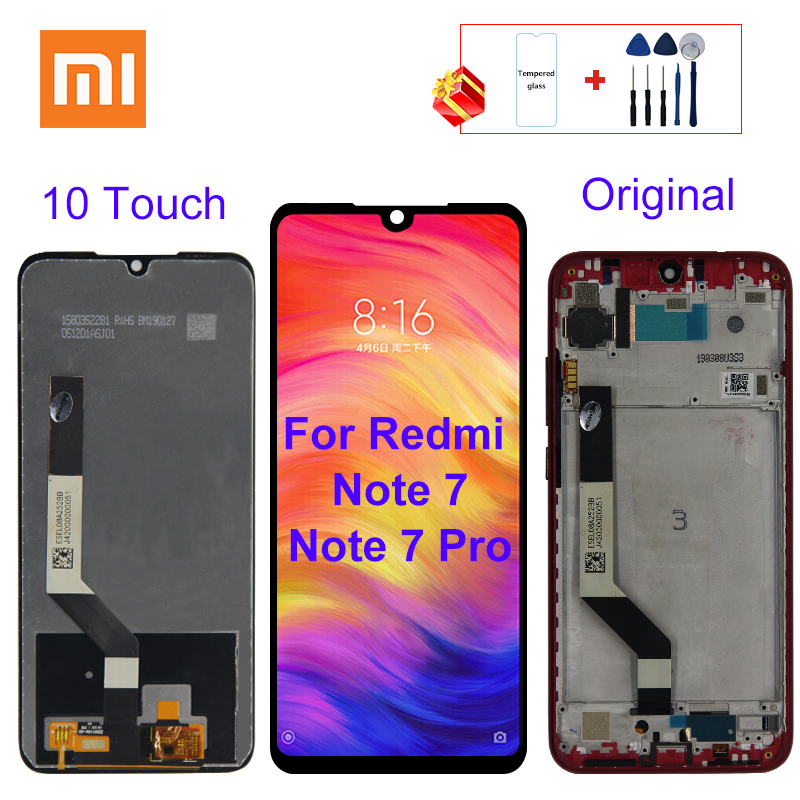 10 Touch Original For Xiaomi Redmi Note 7 Display LCD Touch Screen For Redmi Note 7 Pro LCD Replacement Parts With Frame