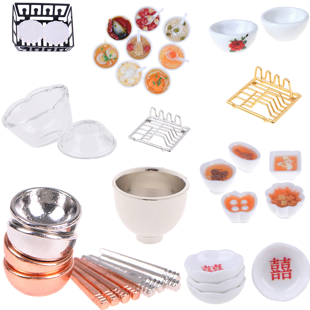 Chinese Cuisine Dessert Noodles Tofu Fish  Bowls Chopsticks Dish Rack Dollhuse Miniature Baby DIY Kitchen Doll Houses Toys