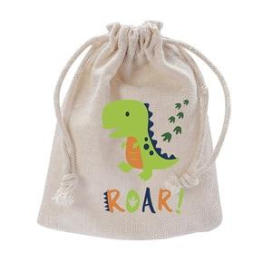 Dinosaur Jurassic World T-Rex Roar Party Favor baby shower Gender Reveal first 1st 2nd Birthday Decoration candy Goodie Gift Bag