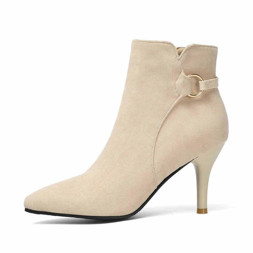 ESVEVA 2020 femmes chaussures hiver bottines mode mince talon haut troupeau bout pointu moto plate-forme bottes taille 34-43