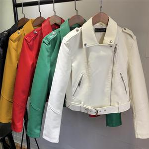 Женская куртка из мягкой искусственной кожи, весна-осень 2020, короткое пальто из искусственной кожи, мотоциклетная куртка на молнии, панк, ве...