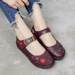 Image 1 - 2020 Summer Lady Genuine Leather Shoes Women Flower Printing Soft Sole Hollow Flat Shoes Slip on Loafers for Women Vintage Flats