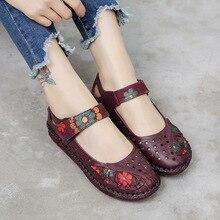 2020 Summer Lady oryginalne skórzane buty damskie kwiatowy nadruk miękkie podeszwy Hollow płaskie buty wkładane mokasyny dla kobiet Vintage mieszkania