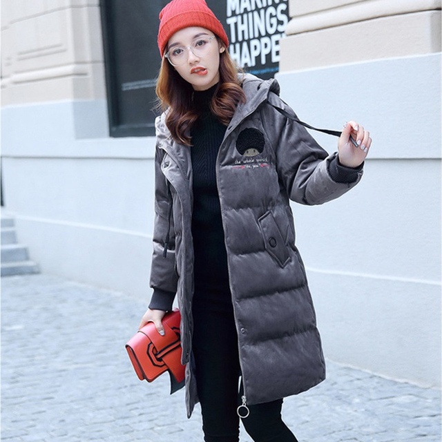 2019 Gold velvet winter parka women thicken warm cotton jacket hooded coat plus size female embroidery Cotton-padded jacket 4