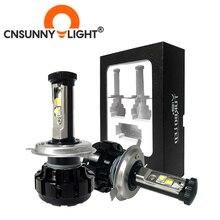CNSUNNYLIGHT Super jasne zestaw żarówek LED do reflektorów samochodowych H4 H13 9007 Hi/Lo H7 H11 9005 9006 w/ XHP50 chip zamienny żarówki 6000K światła
