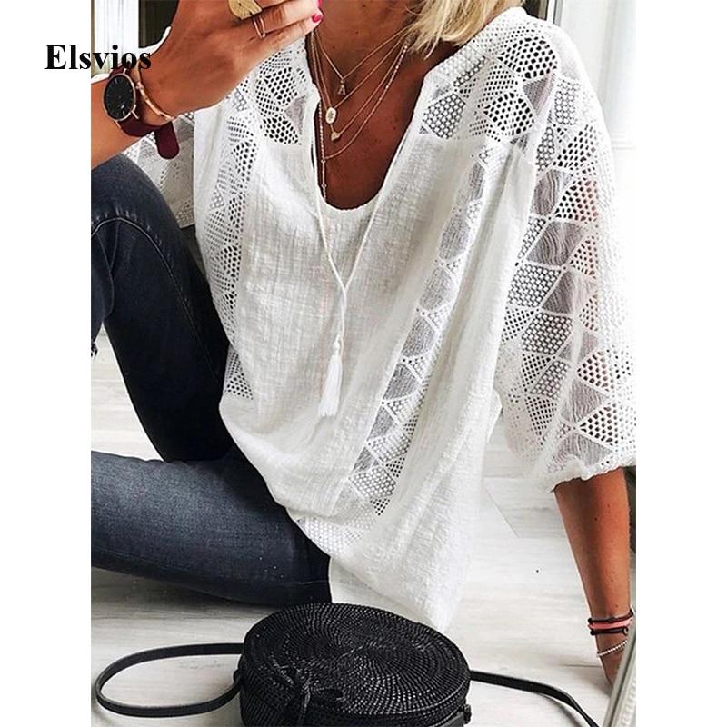 Women Loose Cotton Line Shirt Blouse Sexy V Neck Tassel Blouse Spring Summer Three Quarter Sleeve Lace Tops Blusa Streetwear 5XL
