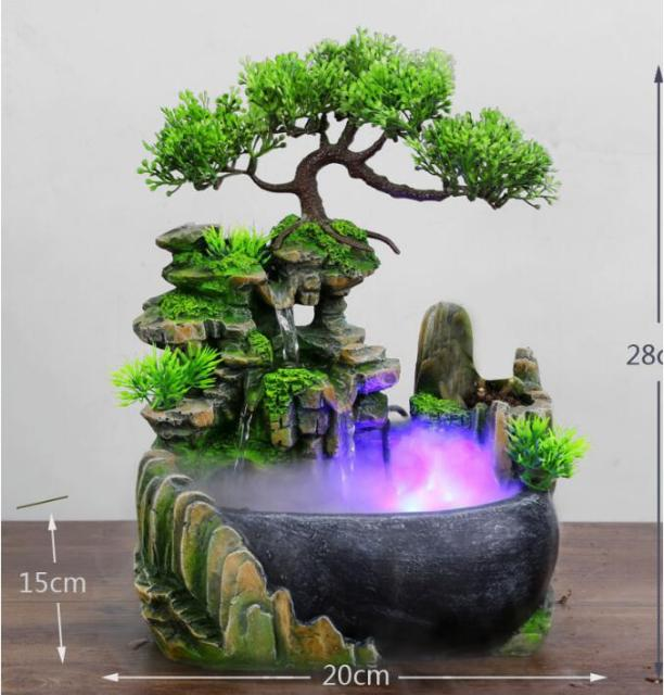 Modern Waterfall Desktop Fountain Landscape Home Practical Humidifier Beauty Scenery Living Room Home Decor Crafts 3