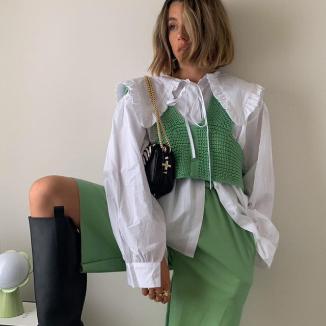 [DEAT] irregular collar solid wool sleeveless bandage top with belt women sexy style mall gothe y2k clothes 2021 summer GX428 2