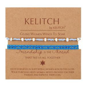 KELITCH Female New 2PCS Matching Bohemian Friendship Bracelets Charm Tropical Beach Bracelet Jewelry (08C)