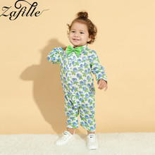 ZAFILLE 2020 New Baby Boy Clothes Long Sleeve Baby Romper Summer New Born Baby Clothes Printed Kids Clothes With Bow Tie Rompers new arrival easter baby girls long sleeve cotton floral ruffle boutique romper tutu pink clothes bunny kids wear match bow kids