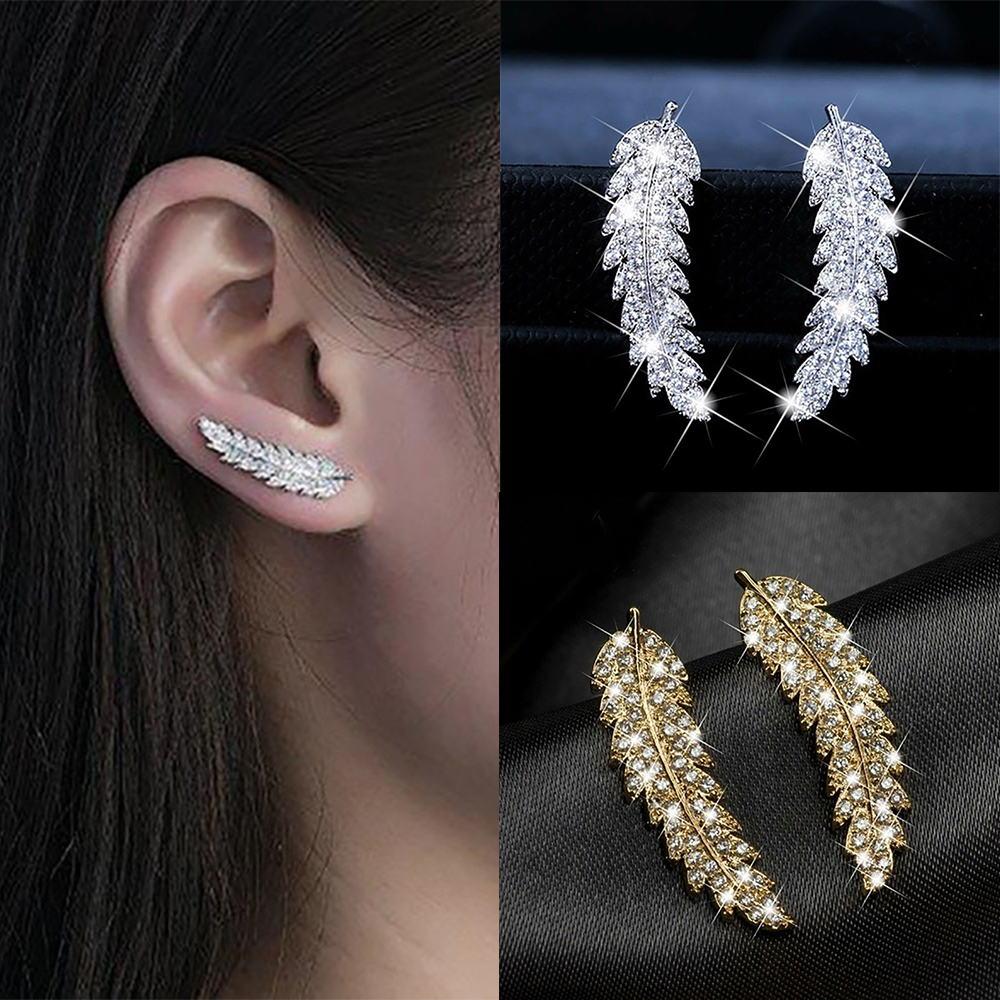 ZHOUYANG Stud Earrings For Women Delicate Feather & Leaf Shaped Gold-Colour Party Daily GiftFashion Jewelry KAE060(China)