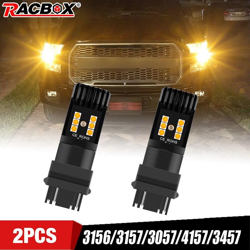 Luces Led amarillas para coche, 3156, 3157, 4157, 4057, luz de freno, intermitente de estacionamiento, luz amarilla ámbar, 12V, 1300LM