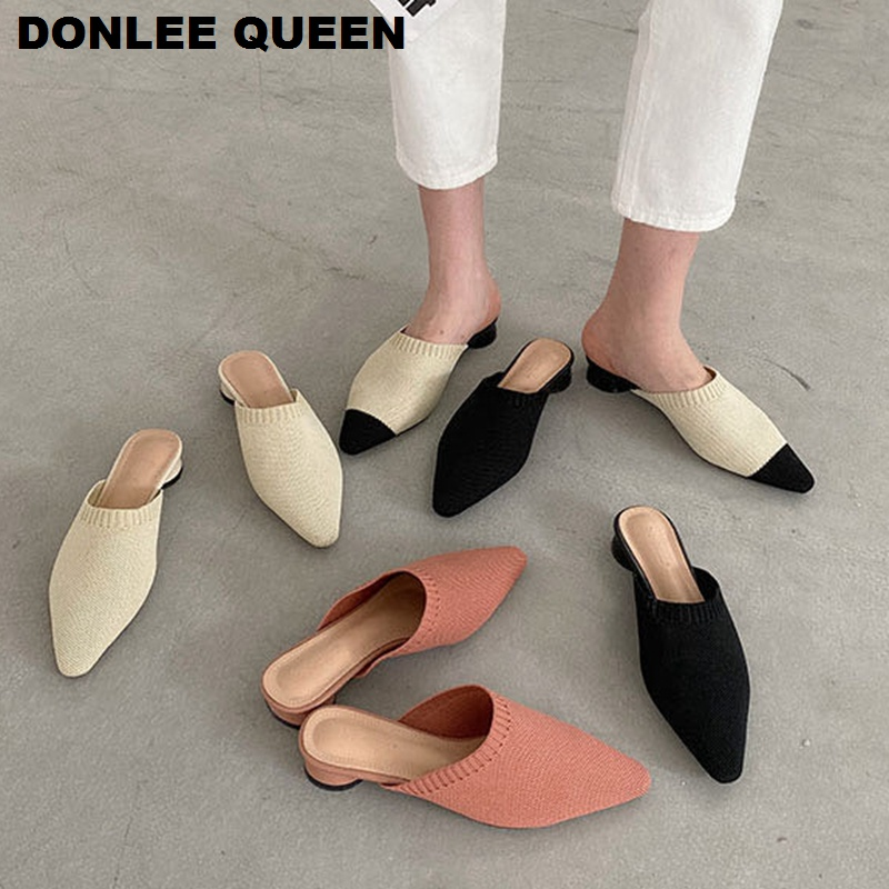 2020 Brand Slippers Slip On Weave Mule Shoes Women Breathable Knitting Flat Heels Slides Outdoor Slipper Sandalias Zapatos Mujer