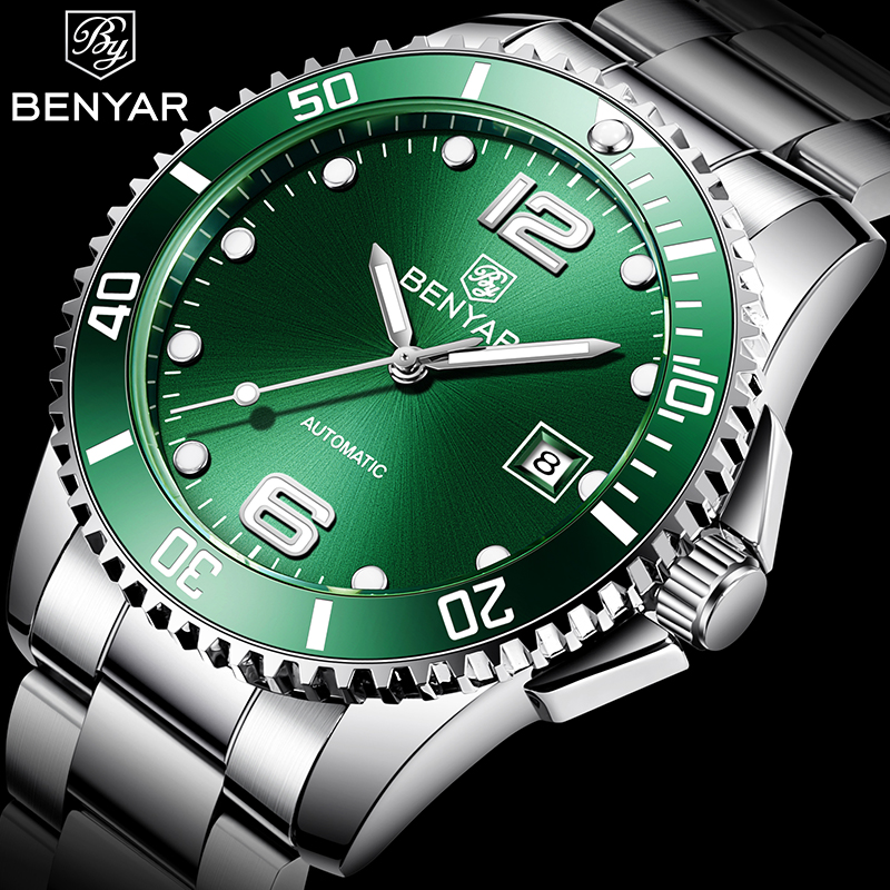 BENYAR Luxury Brand Business Stainless Steel Men Automatic mechanical Watch 2019New Fashion Leisure Male Watch Relogio Masculino|Mechanical Watches|   - title=
