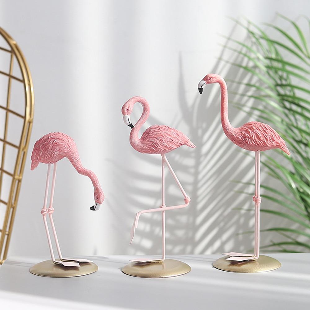 Nordic Style Flamingo Figurine  Fairy Garden Livingroom Office Wedding Party Ornament Home Decoration Accessories