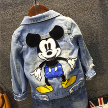 Boys Girls Mickey Jacket Cowboy Coats Baby Outerwear Coats Spring Autumn Children Clothing 3-10 Year Toddler Boy #8217 s Clothes cheap AIQINGSHA Casual Acetate cartoon REGULAR Turn-down Collar Full Fits true to size take your normal size Thin (Summer) Oxford