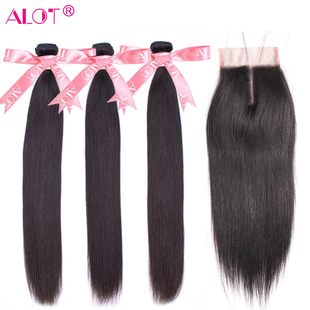 Alot Peruvian Straight Hair Bundles With Closure 3 Bundles With Closure Human Hair Weave Bundles With Closure Non Remy 4 Pcs/lot