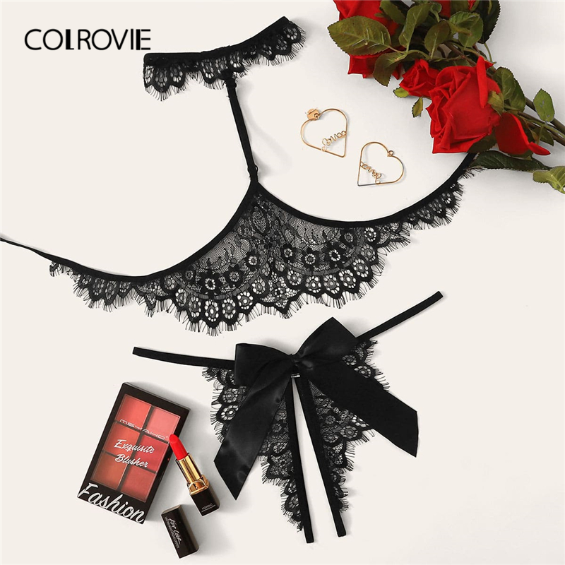 COLROVIE Black Floral Lace Lingerie Set With Choker Women Sheer Bralettes Intimates 2019 Solid Sexy Sets Style Ladies Bra Set