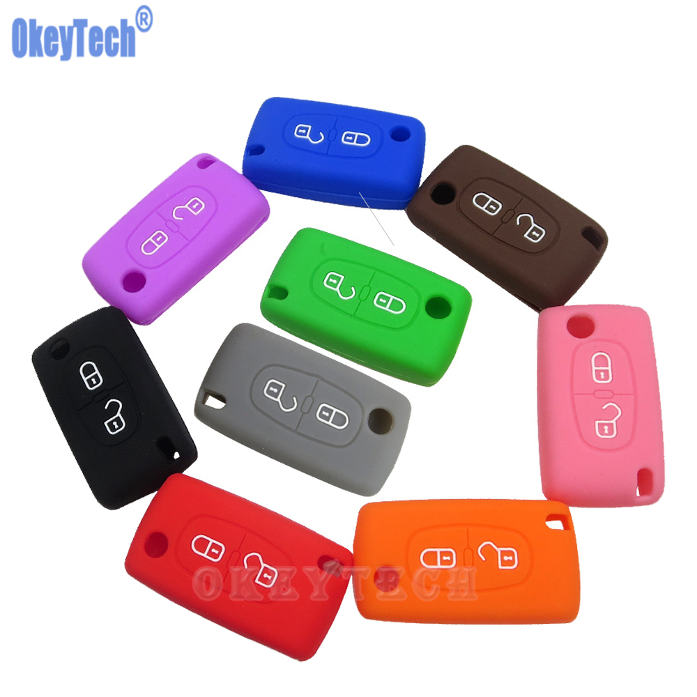 OkeyTech Silicone Case For Citroen C4 C5 C3 C2 C4L Xsara Picasso For Peugeot 208 207 308 RCZ 408 407 307 206 Car Flip Key Cover