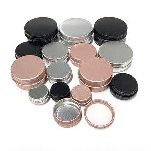 Image 1 - 50Pcs 5g 10g 15g 20g 30g 50g Aluminum Jars Empty Cosmetic Makeup Cream Lip Balm Gloss Metal Aluminum Tin Containers