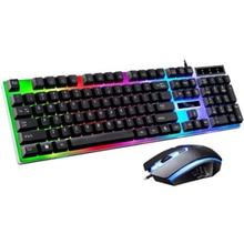 Игровая Проводная Механическая клавиатура с 104 клавишами, игровые клавиатуры для планшета, настольный компьютер, русский/Американский светодиодный ноутбук с подсветкой