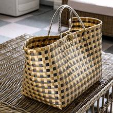 Bolsos de mimbre informales de gran capacidad para mujer, bolsas de mano de mimbre tejidas hechas a mano, bolsa de paja de playa, bolso grande de viaje