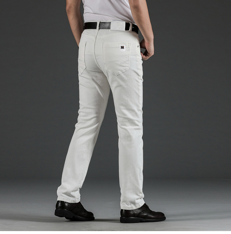 KSTUN Mens White Jeans Straight Stretch Regular Fit Business Casual Denim Pants Male Long Trousers Fashion Jeans Large Size 40 14