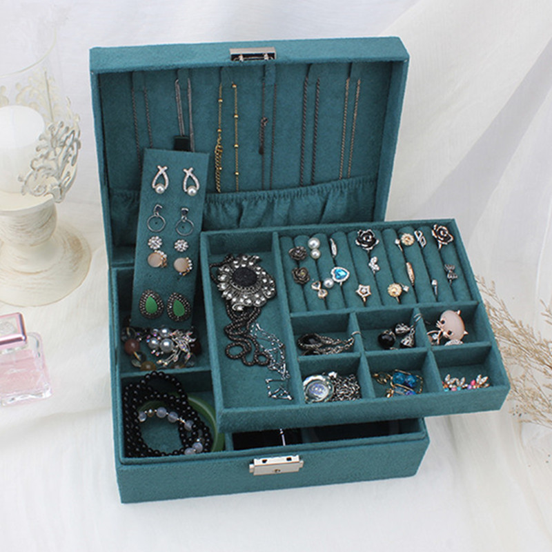 Double-layer Velvet Jewelry Box European Jewelry Storage Box Large Space Jewelry Holder Gift Box