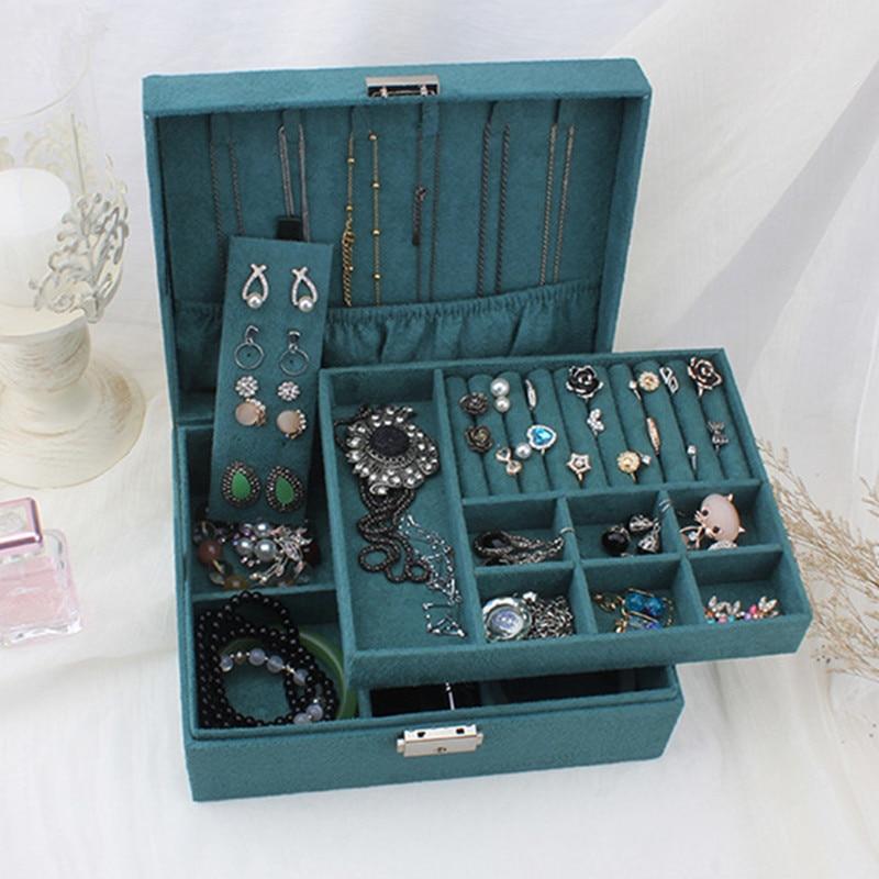 Double-layer Velvet Jewelry Box European Jewelry Storage Box Large Space Jewelry Holder Gift Box
