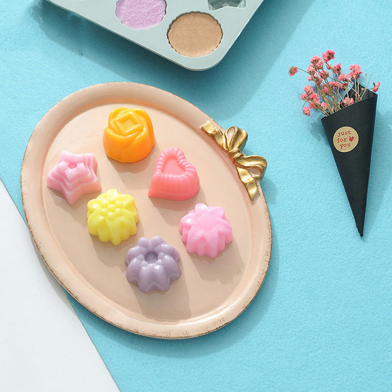 Silicone Mold Cake Decorating Tools 12 Grid Flower Shape Baking Plate Manual Mould Kitchen Accessories Moldes De Silicona