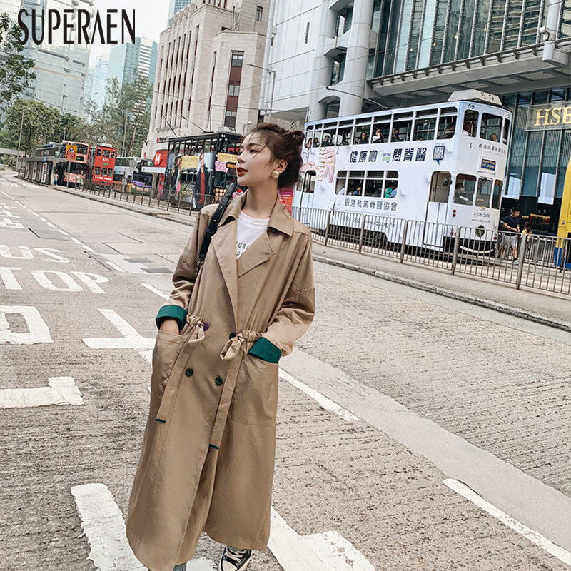 SuperAen 2019 New Autumn Korean Style Windbreaker Female Solid Color Wild   Trench   Coat for Women Fashion Women Clothing