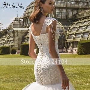 Image 5 - Romantic Scoop Neck Lace Up Mermaid Wedding Dresses 2020 Luxury Cap Sleeve Beaded Appliques Court Train Princess Wedding Gowns