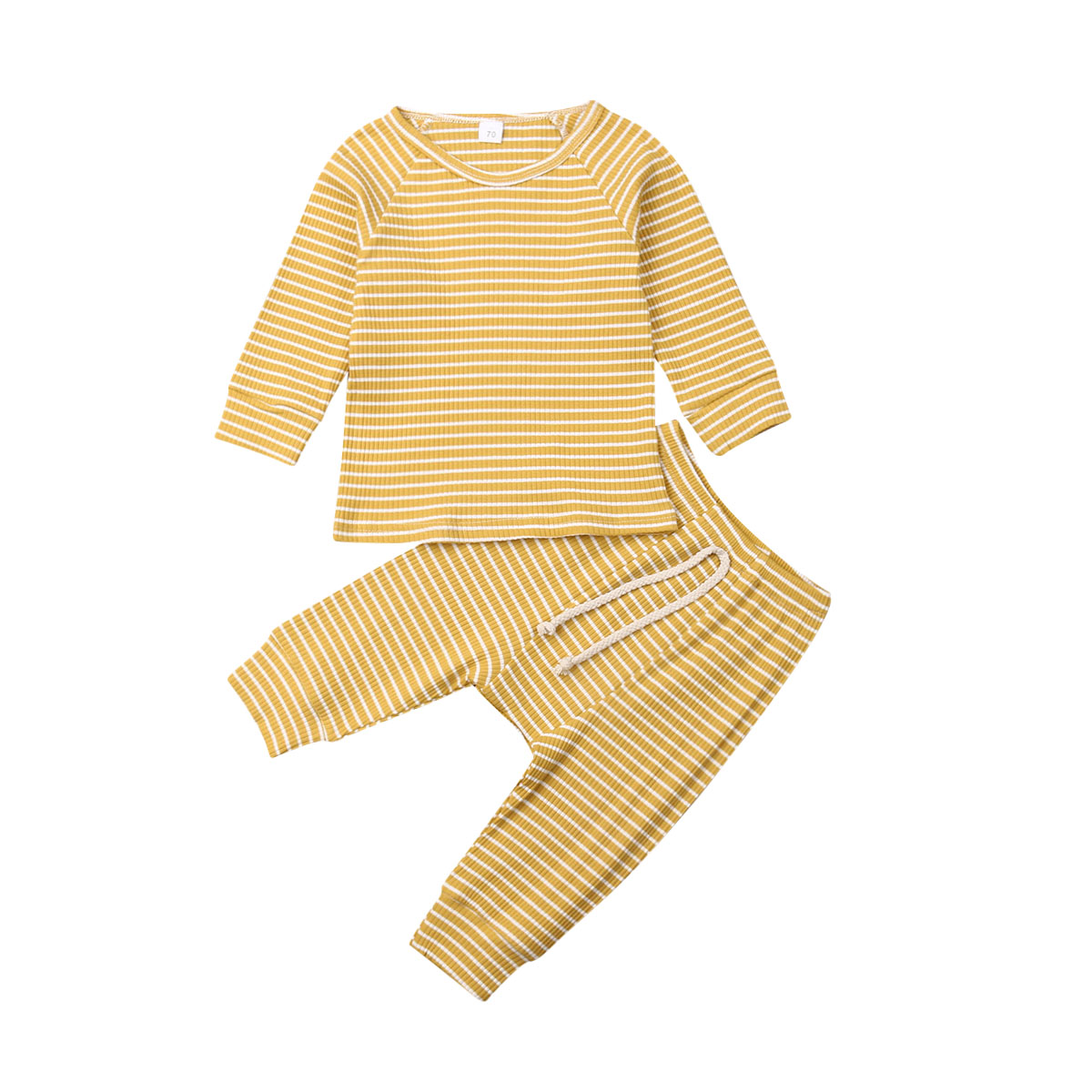 Knitted Cotton Newborn <font><b>baby</b></font> girl boy clothes Striped <font><b>Tshirt</b></font> Tops Pants Leggings Outfit 2PCS <font><b>Baby</b></font> bebe Clothing <font><b>Set</b></font> for infant image